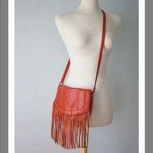 Fringed Boho Purse Burnt Orange Faux Leather